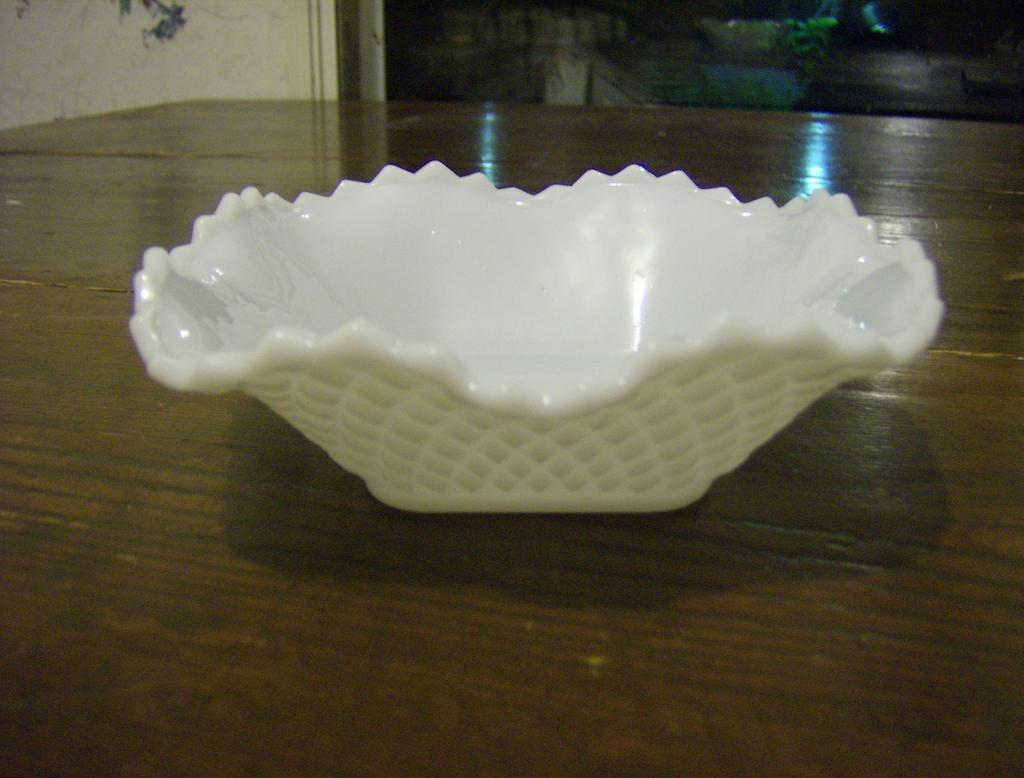 Hazel Atlas Diamond Squares Milk Glass Candy Dish