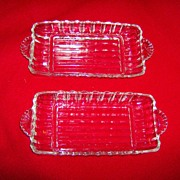 Crystal Relish Dishes with Fan Shaped Handles ~ 1940's
