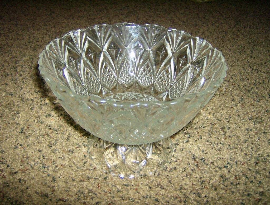 Cut Glass Pedestal Bowl Pineapple & Stars -  France