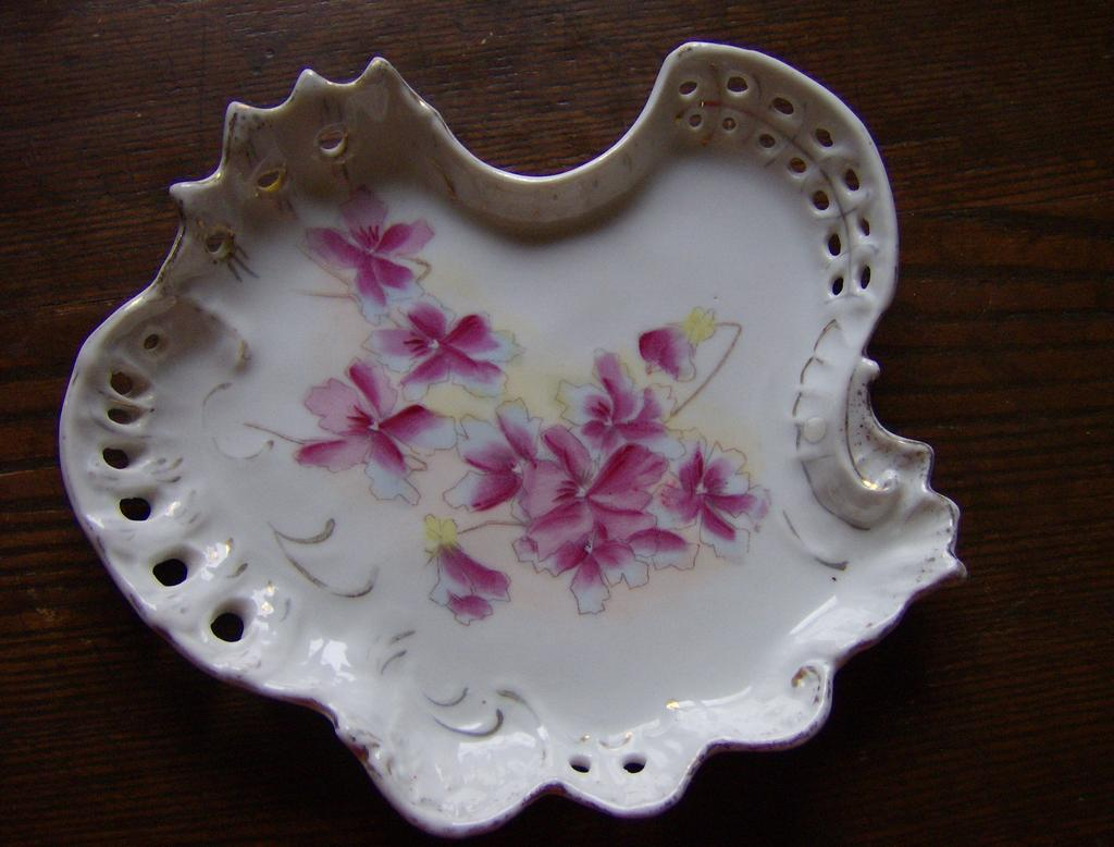 Vintage Porcelain Dresser Tray with Pink Flowers