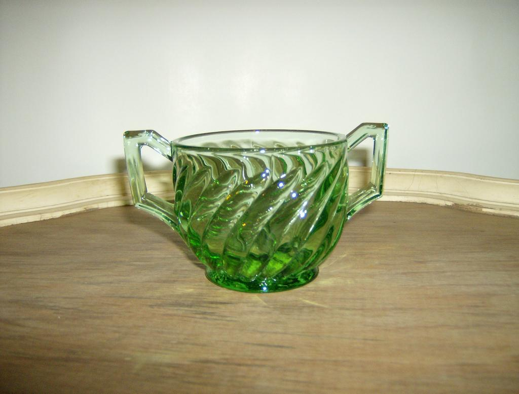 Green Depression Glass Open Sugar Swirl