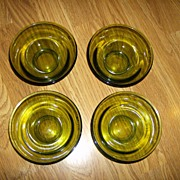 Set of 4 Olive Green Glass Bowls