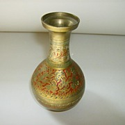 Brass Etched Enamel Vase Made in India