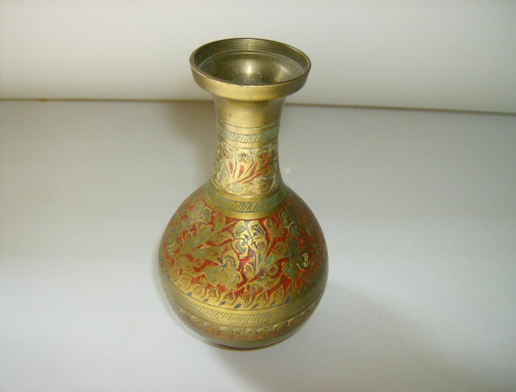 Brass Etched Enamel Vase Made In India Mary S Menagerie