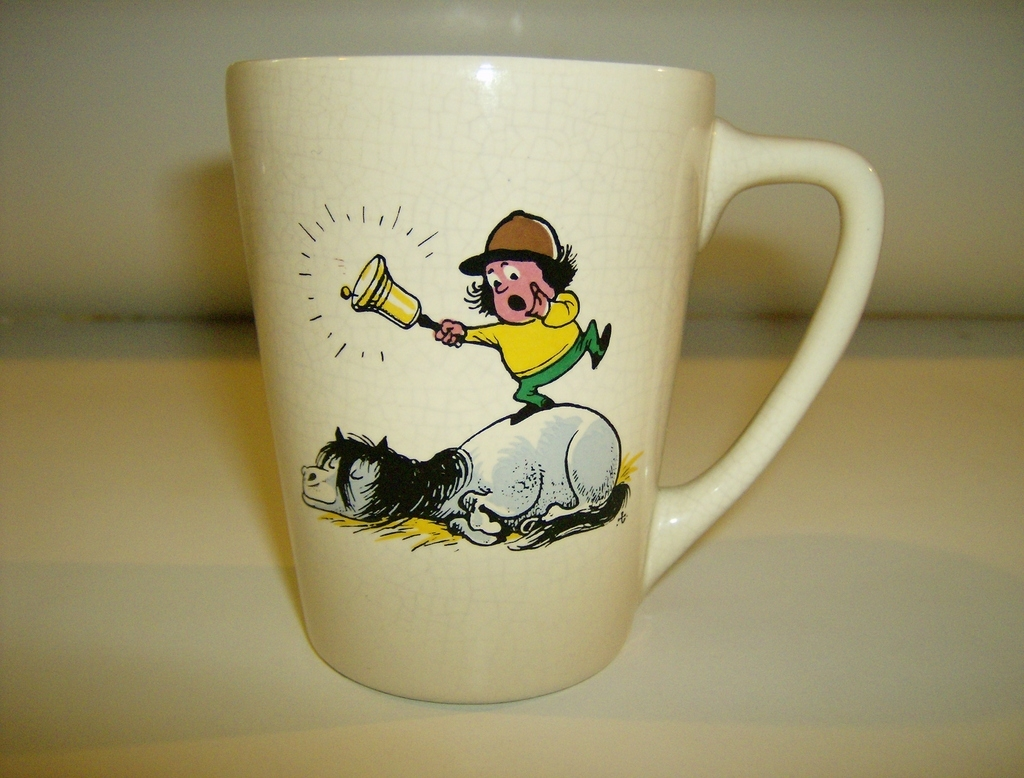 New Devon Pottery Hand painted Cartoon Mug
