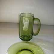 Olive Green Glass Mug & Snack Plate