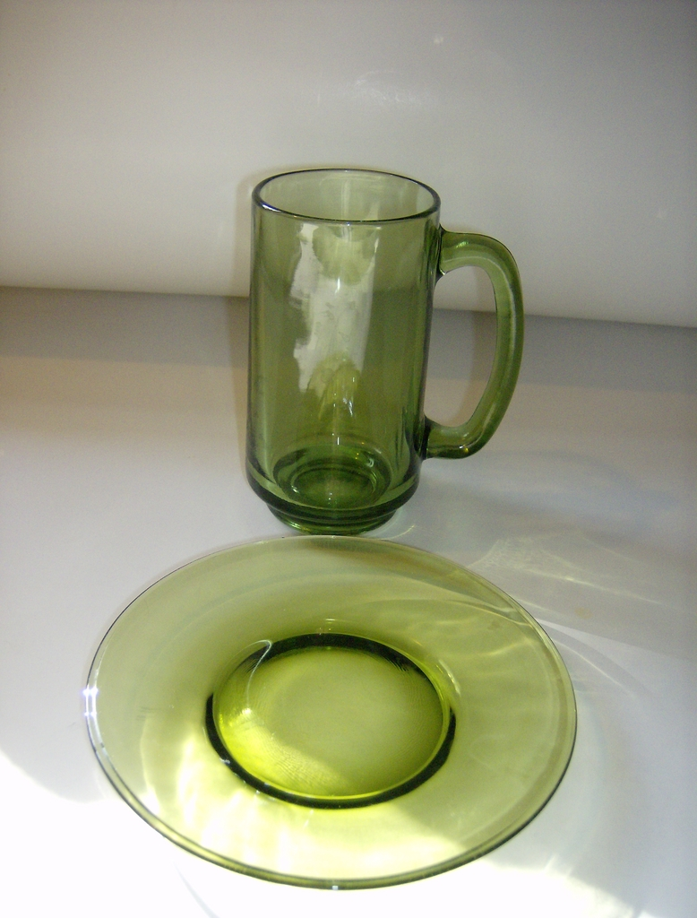Olive Green Glass Mug & Snack Plate