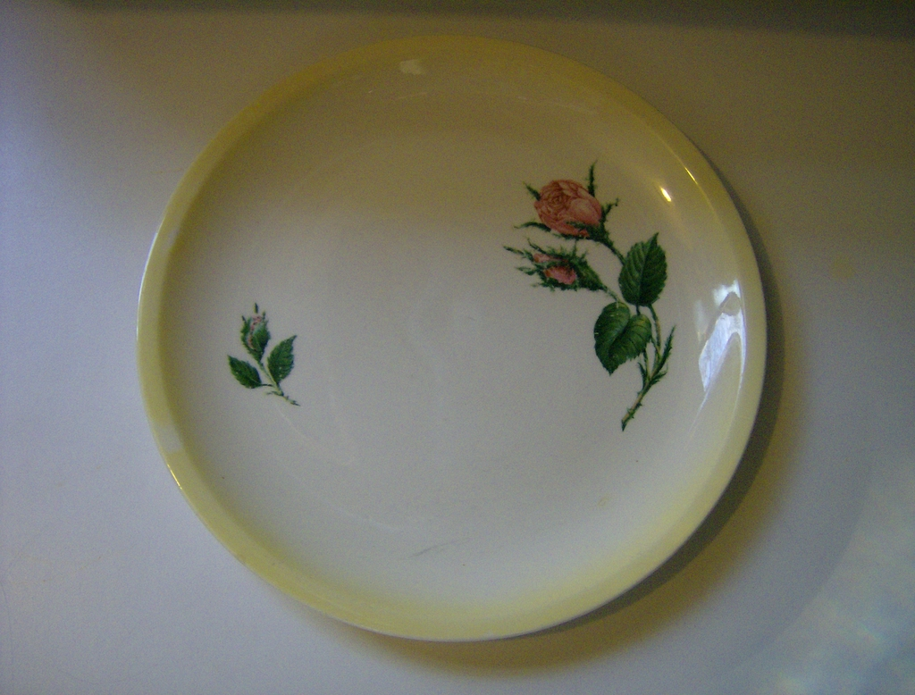 Paden City Pink Moss Rose Salad Plate