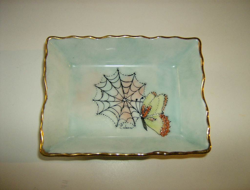 Porcelain Pin Dish ~ Hand Painted ~ Signed