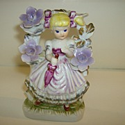Porcelain Girl Under Flowered Trellis - Hand Painted - Korea