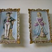 Pair Bisque Wall Plaques Colonial Couple