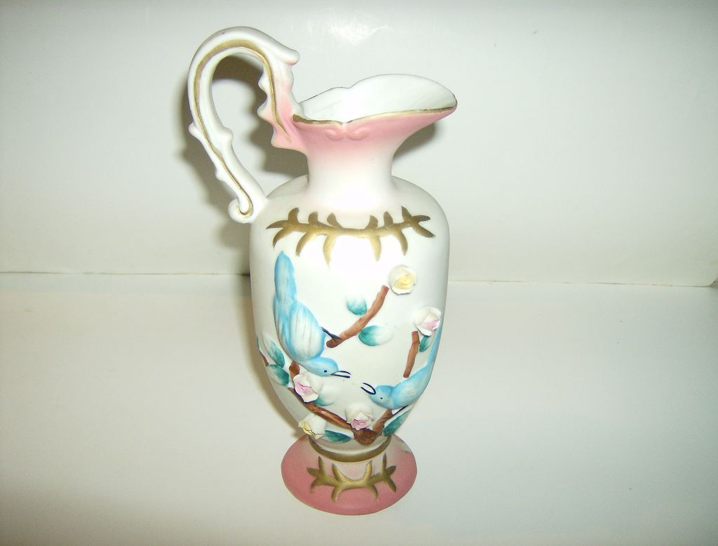 Hand Painted Porcelain Ewer with Applied Flowers