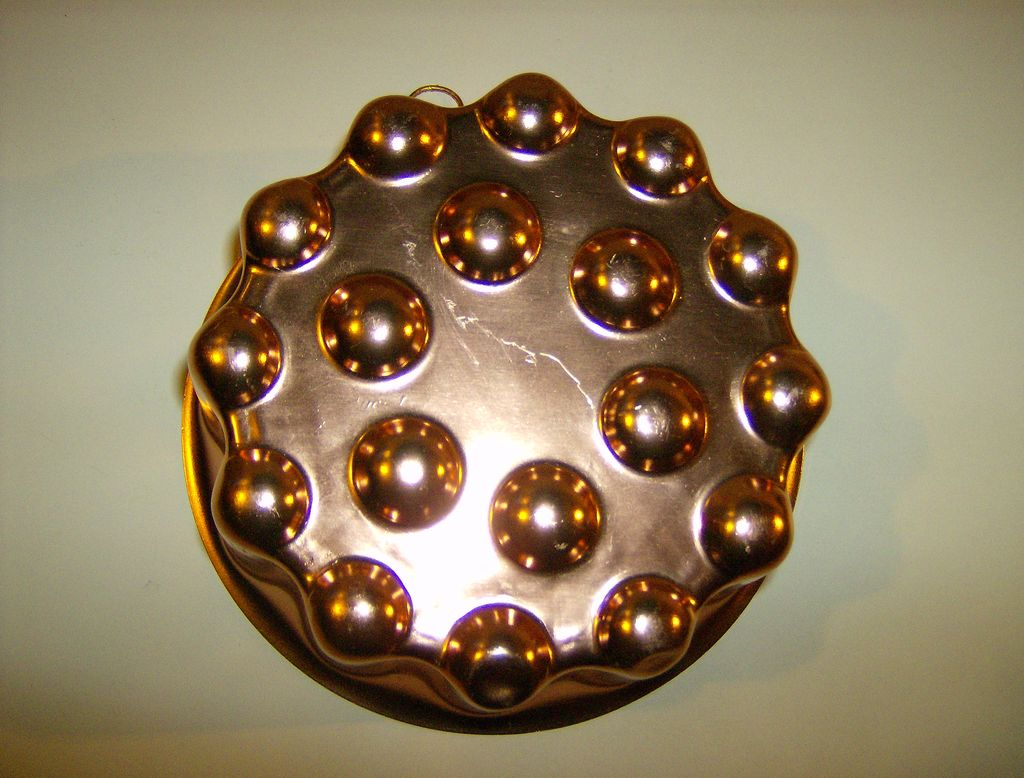 Aluminum Round Dimpled Copper Color Jello Mold - 1960's