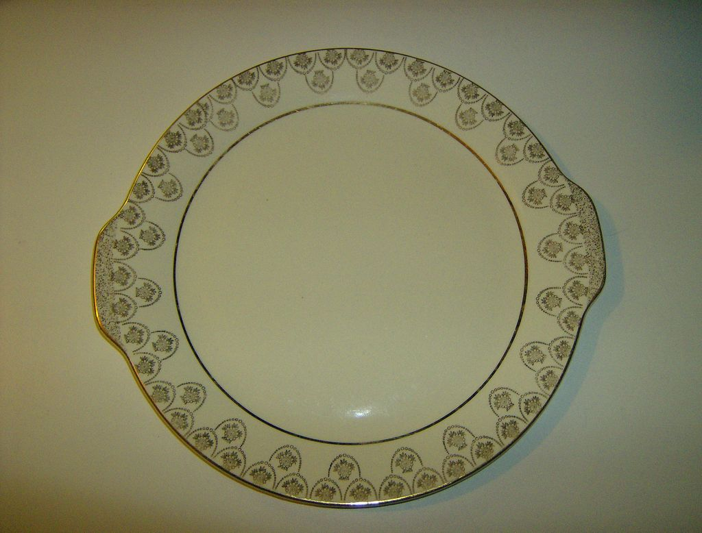 Gold Decorated Cake Plate with Tab Handles