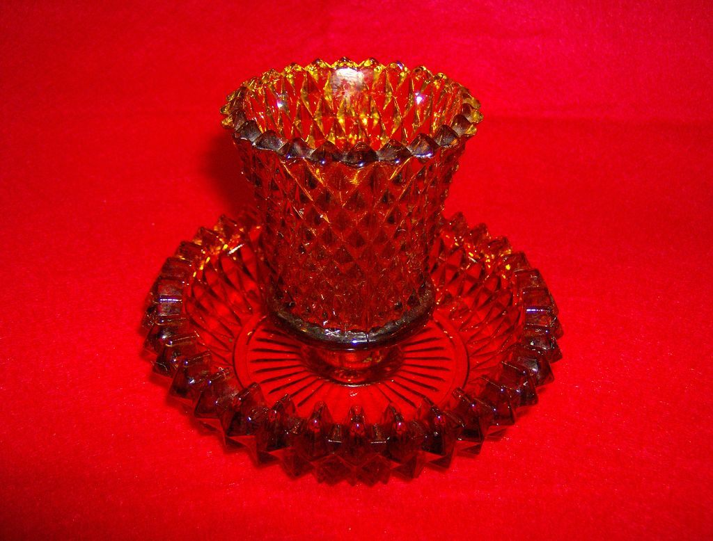 Amber Glass Diamond Point Candle Holder ~ 2 Parts