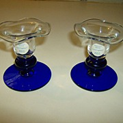 Princess House Crystal Sapphire Candlesticks
