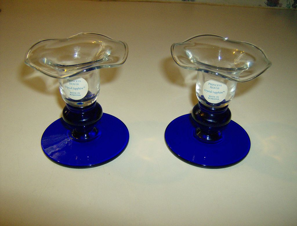 Princess house crystal sapphire candlesticks mary 39 s for Princess housse