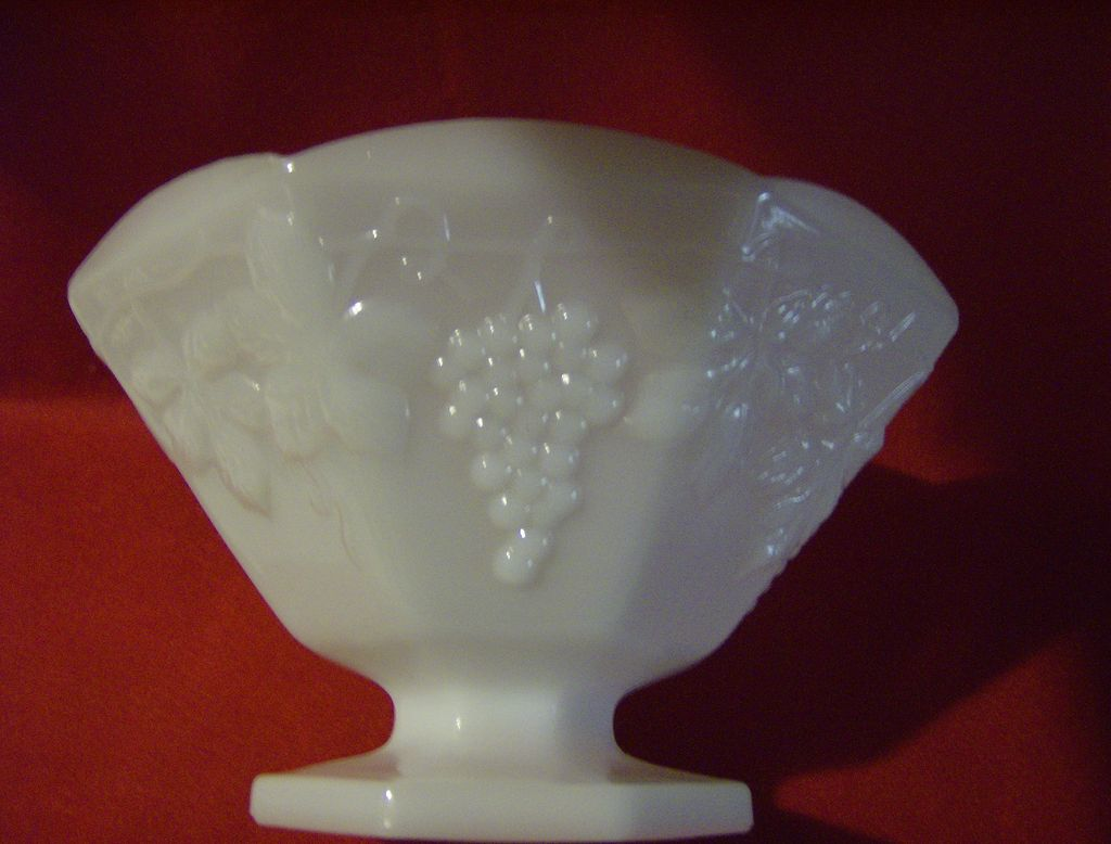 Milk Glass Footed Bowl - Grapes Pattern by Anchor Hocking