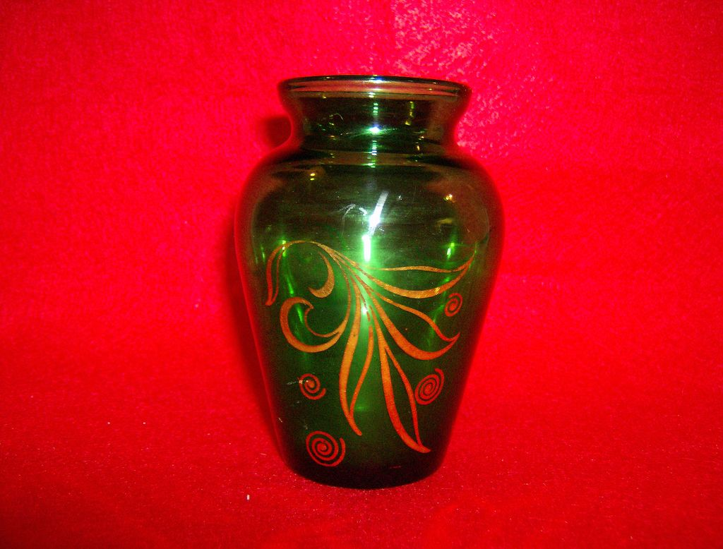 Anchor Hocking Forest Green Glass Vase With Gold Leaf