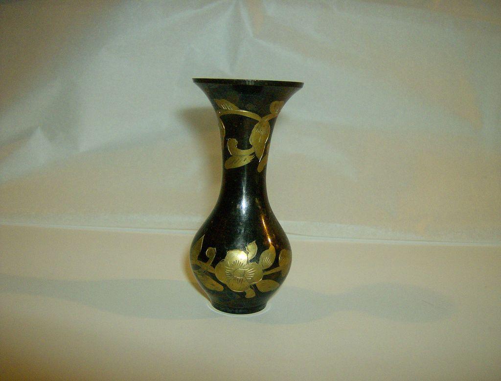 Brass & Black Etched Floral Vase