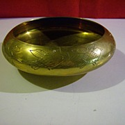 Solid Brass Etched Shallow Bowl