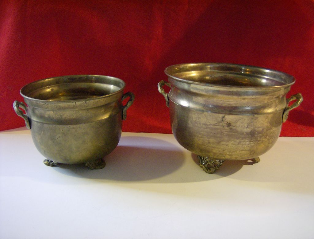 Solid Brass Footed Planters - Set of 2 - India