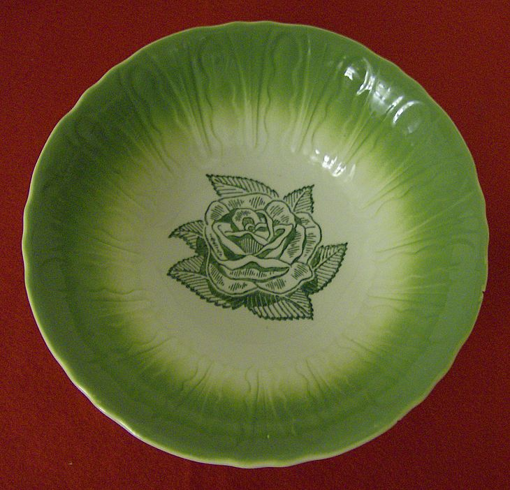Green Rose Serving Bowl ~ Promotional Item ~ 1950's
