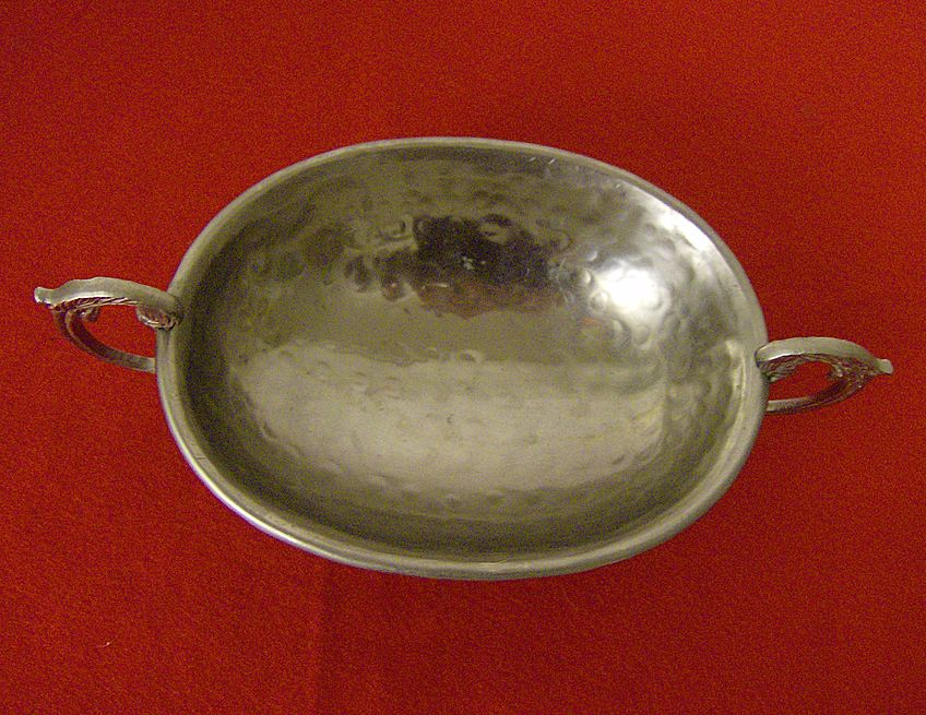 Hammered Aluminum Pedestal Nut or Bon Bon Bowl with Handles