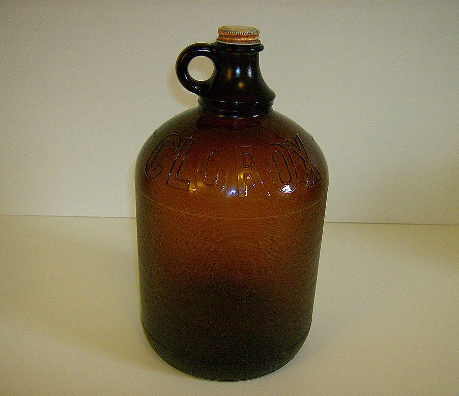 Clorox 1 Gallon Bleach Bottle ~ Brown Glass ~ 1950's