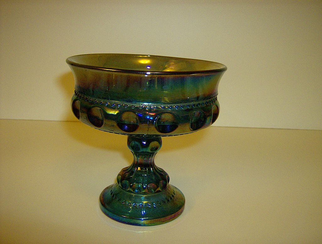 Kings Crown Blue Carnival Glass Wedding Bowl