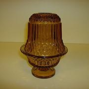 Amber Glass Diamond Point Fairy Lamp ~ Indiana Glass Company