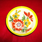 Granite Ware ~ Bowl with Flowers ~ Enamelware ~ 1950's
