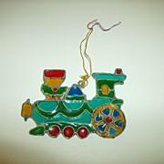Kurt S. Adler Stained Glass Christmas Ornament ~ Train ~ 1979