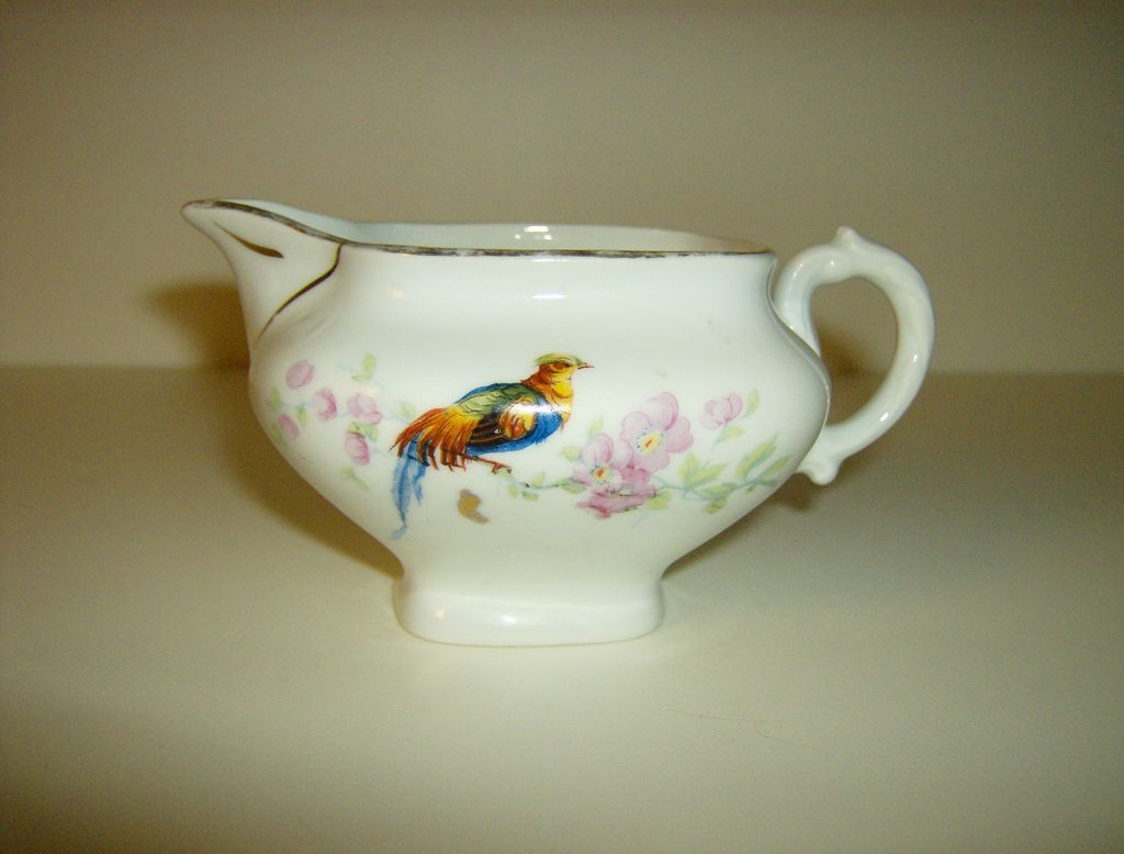 Porcelain Creamer ~ Made in Czechoslovakia ~ Golden Pheasant