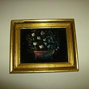 Velvet Painting ~ Flowers ~ 1950's