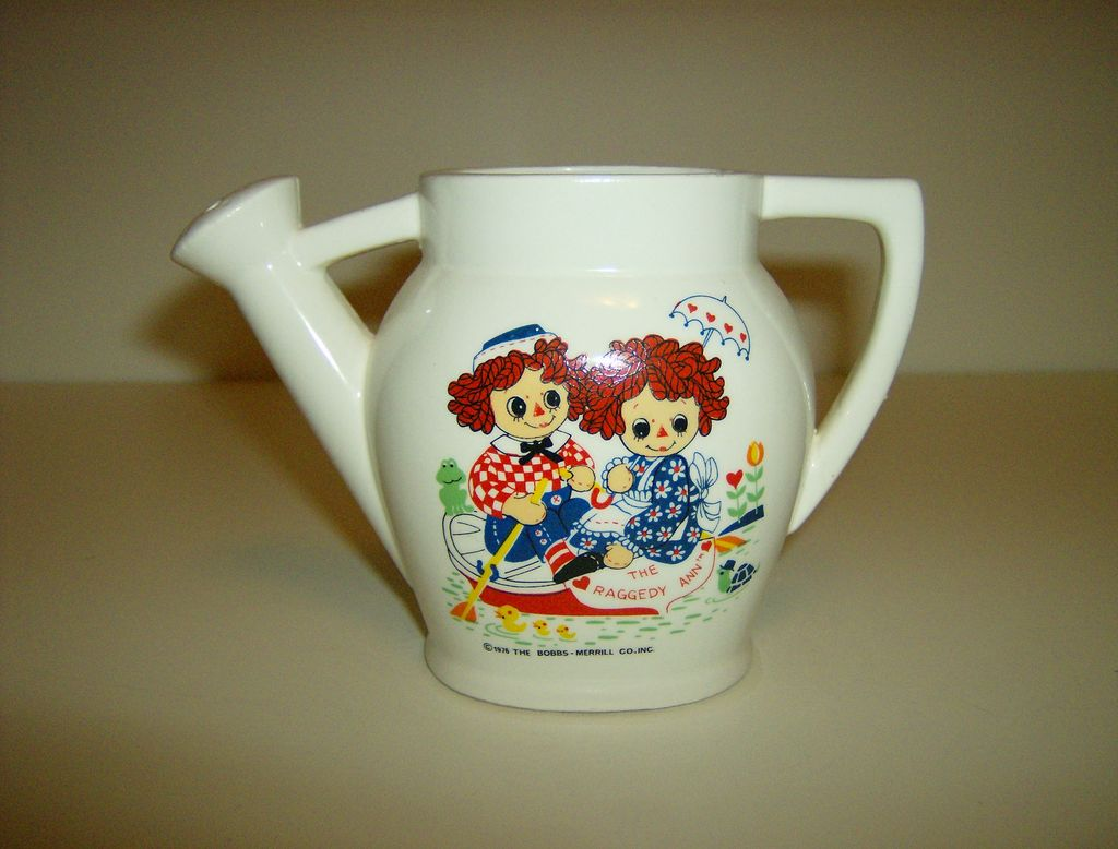 Raggedy Ann and Andy Porcelain Watering Can ~ 1976