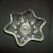 EAPG Crystal Star Candlestick Holder
