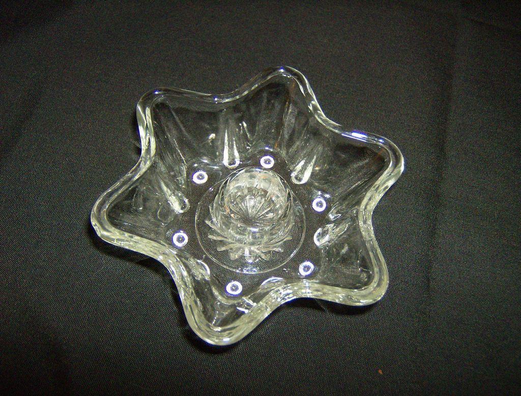 EAPG Crystal Star Candlestick Holder