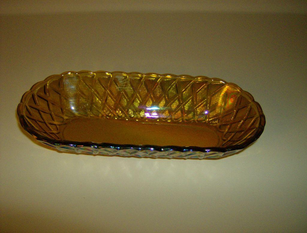 Indiana Glass ~ Pretzel Pattern # 622 ~ Celery Dish ~ Carnival Glass