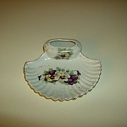 Porcelain Ashtray with Matchbook Holder ~ Violets