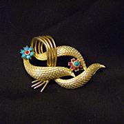 Coro Brooch/Pin ~ Faux Turquoise & Ruby ~ 1940's