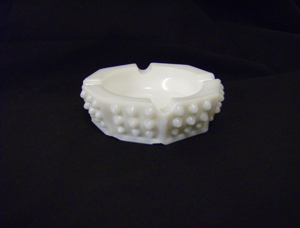 Fenton White Milk Glass Hobnail Ashtray