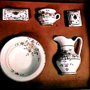 Children's or Doll Toy China Pitcher & Bowl Wash Set R. S. Prussia Orig Box