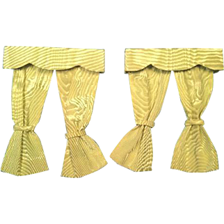 2 Pairs of Doll House Miniature Curtains with Wood Box Cornices