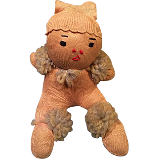 Sitting Sock Doll 1920 ish Made from Child's Stocking