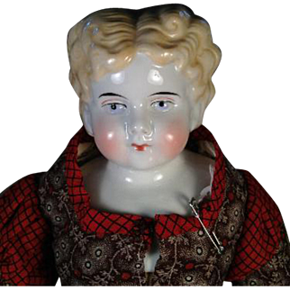 """20"""" Antique Blonde China Head Doll Cloth Body Germany"""