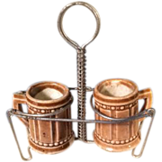 Antique Wire 2 Mug Holder with Mugs for Miniature German Kitchen