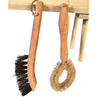 Antique 2 Wood Handle Brushes 4 Miniature German Kitchen