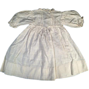 Antique Light Weight White Woven Fabric Doll Dress Puff Sleeves