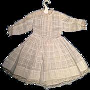 Antique Shear White Woven Plaid Fabric Doll Dress Lace Trim